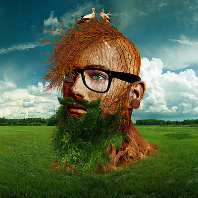 Anthropomorphic Digital Art - Eco Hipster by Marian Voicu