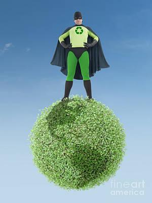 Segregation Digital Art - Eco Superhero And Green Planet by Roman Milert