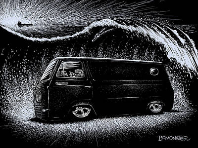 Rat Fink Drawing - Econoline Wave II by Bomonster