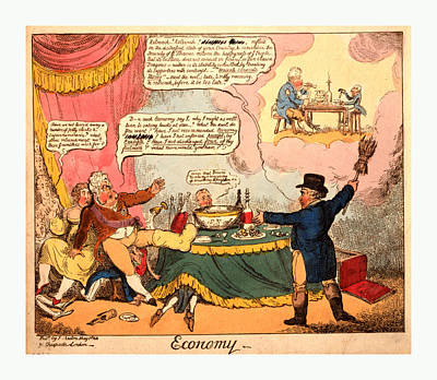 Candle Lit Drawing - Economy, Cruikshank, George, 1792-1878, Artist, London by English School