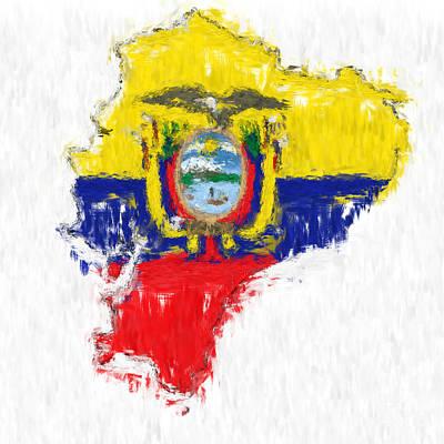 Ecuador Painted Flag Map Art Print by Antony McAulay