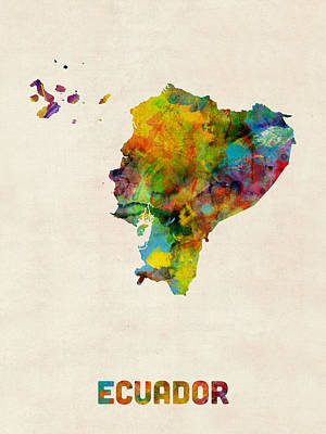 South America Digital Art - Ecuador Watercolor Map by Michael Tompsett