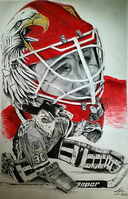 Chicago Blackhawks Drawing - Ed Belfour by Tim Brandt
