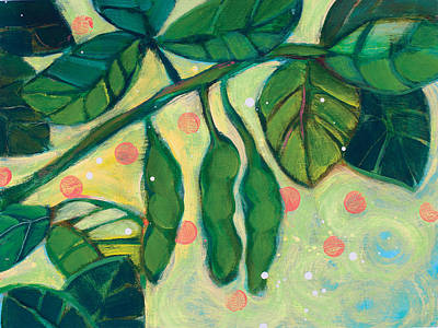 Restaurant Decor Painting - Edamame Pods by Jen Norton