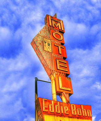 Eddie Bohn's Pig 'n' Whistle Motel Sign Art Print by Juli Scalzi
