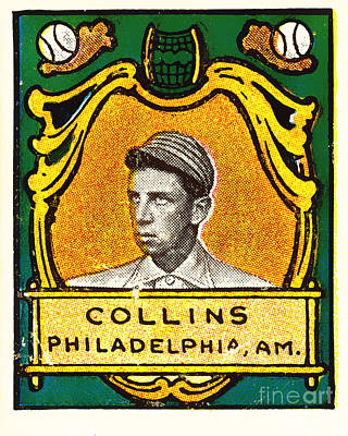 Action Sports Art Photograph - Eddie Collins Philadelphia Athletics Baseball Card 1025 by Wingsdomain Art and Photography