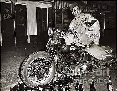 Photograph - Eddie Davenport Of Tulare California On A Motorcycle Hollister  July 7 1947 by California Views Mr Pat Hathaway Archives