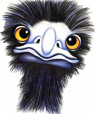 Emu Drawing - Eddie The Emu by Margaret Sanderson
