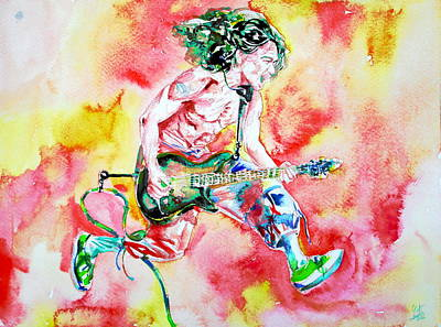 Van Halen Painting - Eddie Van Halen Playing And Jumping Watercolor Portrait by Fabrizio Cassetta
