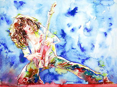 Van Halen Painting - Eddie Van Halen Playing The Guitar.1 Watercolor Portrait by Fabrizio Cassetta