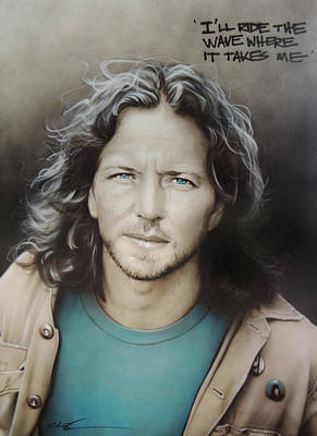 Pearl Jam Painting - ' Eddie Vedder ' by Christian Chapman Art