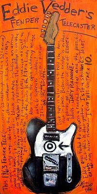 Pearl Jam Painting - Eddie Vedder's Telecaster by Karl Haglund