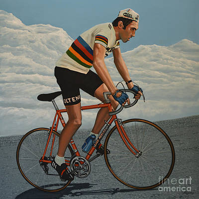 Action Portrait Painting - Eddy Merckx by Paul Meijering