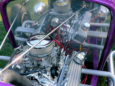 Photograph - Edelbrock Equipment In A Purple Street Rod by Kathy K McClellan