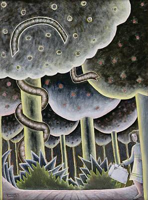 Eden, The First Exodus, 1989 Oil On Canvas Art Print by Celia Washington