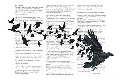 Poem Digital Art - Edgar Alan Crow by Sassan Filsoof