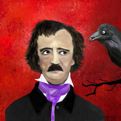 Edgar Allan Poe And The Raven Art Print