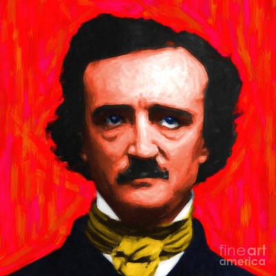 Edgar Allan Poe - Painterly - Square Art Print by Wingsdomain Art and Photography