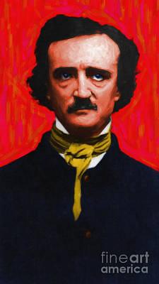 Edgar Allan Poe - Painterly Art Print by Wingsdomain Art and Photography