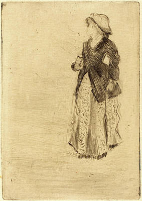 Drypoint Drawing - Edgar Degas, French 1834-1917, The Actress Ellen Andrée by Litz Collection