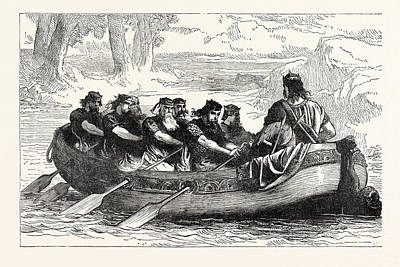 Edgar The Peaceable Being Rowed Down The Dee By Eight Art Print
