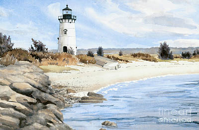 Cape Cod Painting - Edgartown Light - Marthas Vineyard by Steve Hamlin