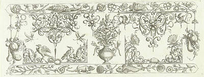 Edge Decoration Featuring Two Turtles, Michiel Le Blon Art Print by Michiel Le Blon