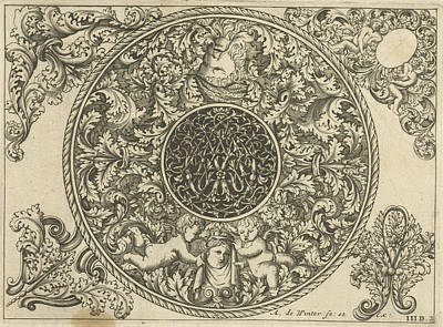 Tendrils Drawing - Edge Of Circular Plate With Leaf Tendrils by Anthonie De Winter And C. De Moelder