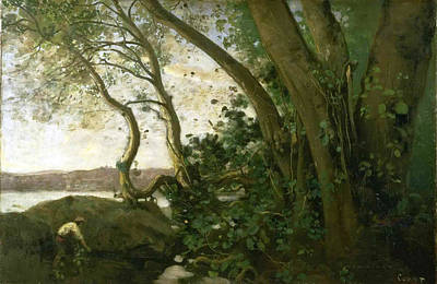 Edge Painting - Edge Of Lake Nemi by Jean-Baptiste-Camille Corot
