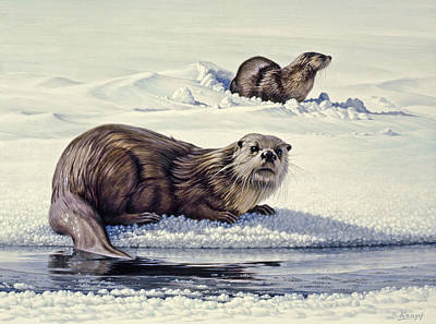 Otter Painting - Edge Of The Lake by Paul Krapf