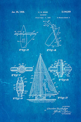 Navy Officer Photograph - Edge Sailboat Patent Art 2 1938 Blueprint by Ian Monk
