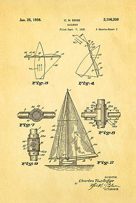 Edge Sailboat Patent Art 2 1938 Art Print