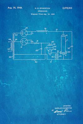 Edgerton Strobe Light Patent Art 1949 Blueprint Print by Ian Monk