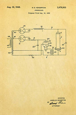 Strobe Photograph - Edgerton Strobe Light Patent Art 1949 by Ian Monk
