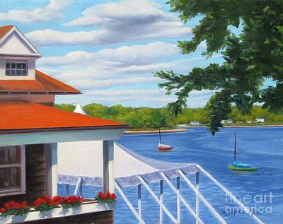 Boston Harbor Islands Painting - Edgewood Yacht Club Providence Rhode Island by Rosemarie Morelli