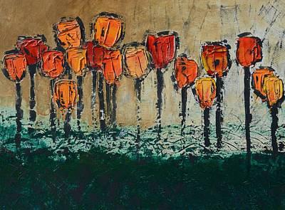 Edgey Tulips Art Print by Linda Bailey
