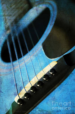 Photograph - Edgy Blue Guitar  by Andee Design