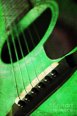 Photograph - Edgy Green Guitar  by Andee Design