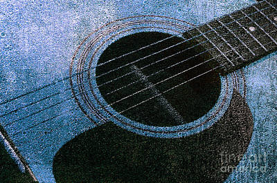 Photograph - Edgy Guitar Blue 2  by Andee Design
