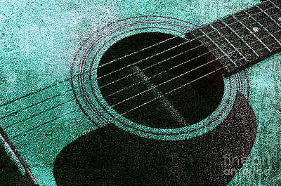 Photograph - Edgy Guitar Teal 2 by Andee Design