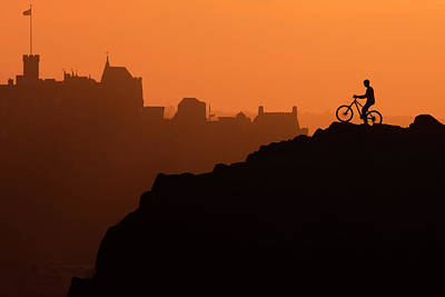 Edinburgh Castle And The Lone Cyclist Art Print