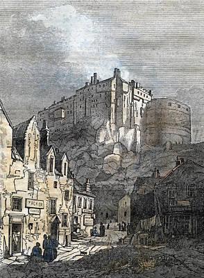 1833 Drawing - Edinburgh Castle Scotland 1833 by Scottish School