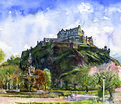 Painting - Edinburgh Castle Scotland by John D Benson