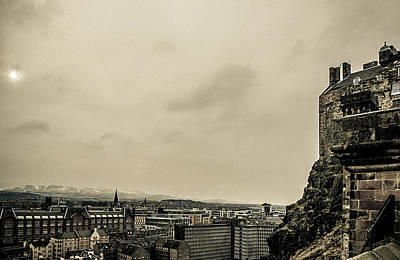 Photograph - Edinburgh Castle With Snow Topped Mountains by Lenny Carter