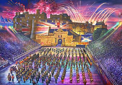 Fireworks Painting - Edinburgh Military Tatoo by Steve Crisp