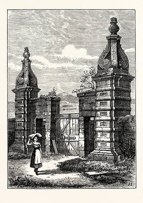 Garden Entrance Drawing - Edinburgh Old Entrance To Royston Now Caroline Park 1851 by English School