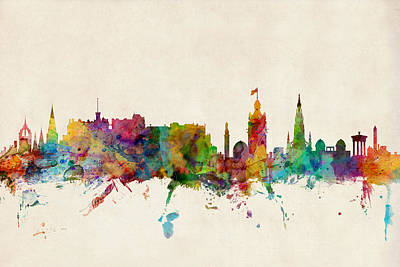 Poster Digital Art - Edinburgh Scotland Skyline by Michael Tompsett