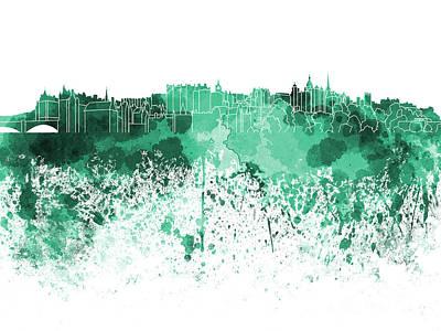 Scotland Painting - Edinburgh Skyline In Green Watercolor On White Background by Pablo Romero