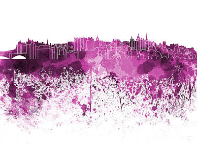 Scotland Painting - Edinburgh Skyline In Pink Watercolor On White Background by Pablo Romero