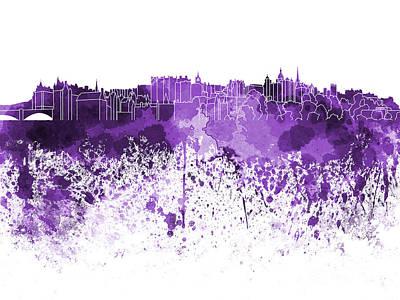 Scotland Painting - Edinburgh Skyline In Purple Watercolor On White Background by Pablo Romero